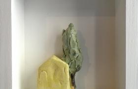 SENSI ARTE_Memorabilia: toscana gialla, ceramica raku, cm 20 x 20 x 5