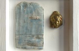 SENSI ARTE__Memorabilia: paesaggio e volto, ceramica raku, cm 20 x 20 x 5