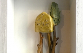 SENSI ARTE__Memorabilia: palafitta, ceramica raku, cm 20 x 20 x 5