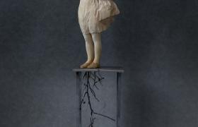 SENSI ARTE_Tutti i frutti sono degli uccelli, legno di tiglio e ferro, cm 173 x 34 x 25