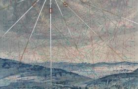 SENSIARTE_Rosa dei dei venti, Passaggio a Nord Ovest, tempera acrilica, foglia argento su cartamodello intelato cm. 83 x 56