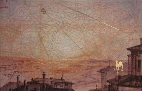 SENSIARTE_Scirocco, tempera acrilica, foglia oro su cartamodello intelato, cm. 56 x 83