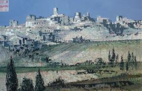 SENSIARTE_Paper view, Borgo, mista su cartamodello, cm 84 x 55