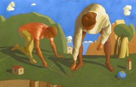 SENSI ARTE_Fondazione di una citta, tempera su tela, cm 150 x 100
