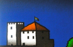 Casa e torre, serigrafia su carta, cm 30 x 30