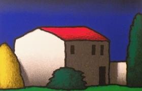 Casolare notturno, serigrafia su carta, cm 50 x 50
