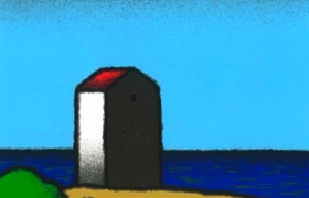 Cabina rossa, serigrafia su carta, cm 30 x 30