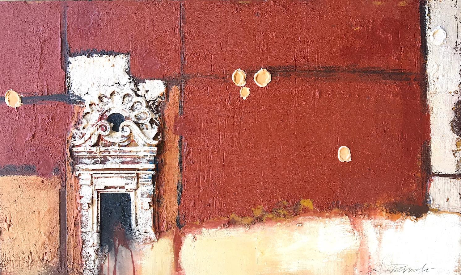 SENSI ARTE, Architettura ocra e rosso, pittoscultura su tavola, cm 100 x 60_RGGA_100