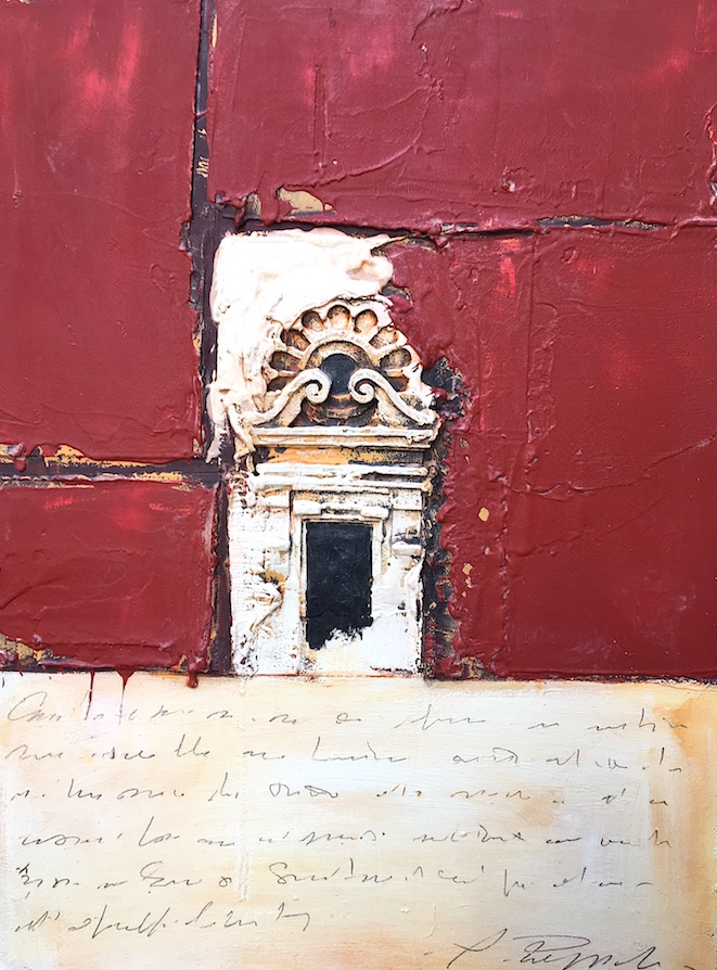 SENSI ARTE, Architettura rossoscritto, pittoscultura su tavola, cm 60 x 80_RGGA_100