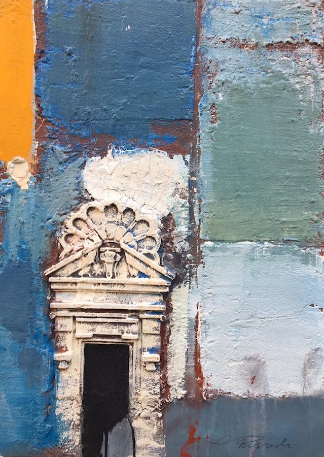 SENSI ARTE, Architettura giallo e blu, pittoscultura su tavola, cm 50 x 70_RGGA_94
