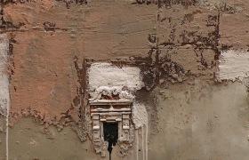 SENSI ARTE, Architettura, tre finestre, pittoscultura su tavola, cm 170 x 58_RGGA_59