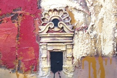 SENSI ARTE, Architettura ocra e rosso, pittoscultura su tavola, cm 50 x 50_RGGA_97