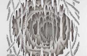 Il sogno della Sibilla, intaglio e olio su acetato, cm 33 x 33 x 4