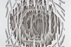 SENSI ARTE, Il sogno della Sibilla, intaglio e olio su acetato, cm 33 x 33 x 4