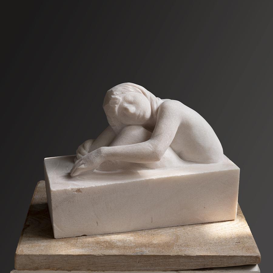SENSI ARTE_un mare di emozioni (aguita), marmo rosa del portogallo, cm 25 x 33 x 15, RBLF_14