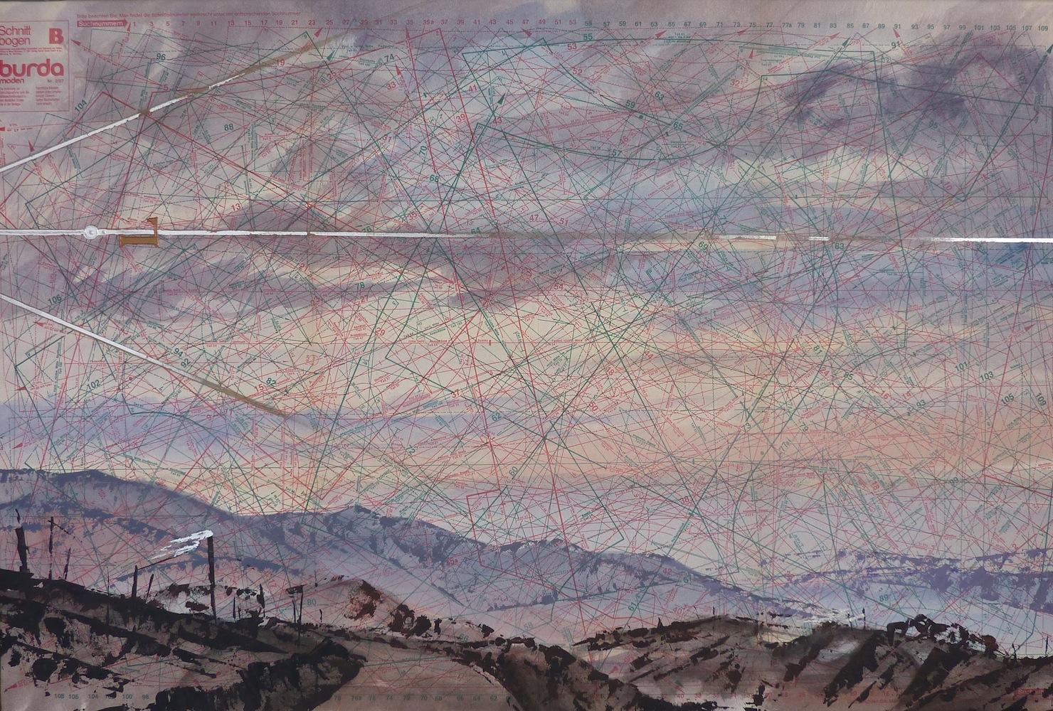 SENSI ARTE, Levante, tempera acrilica, foglia argento su cartamodello intelato, cm. 56 x 83