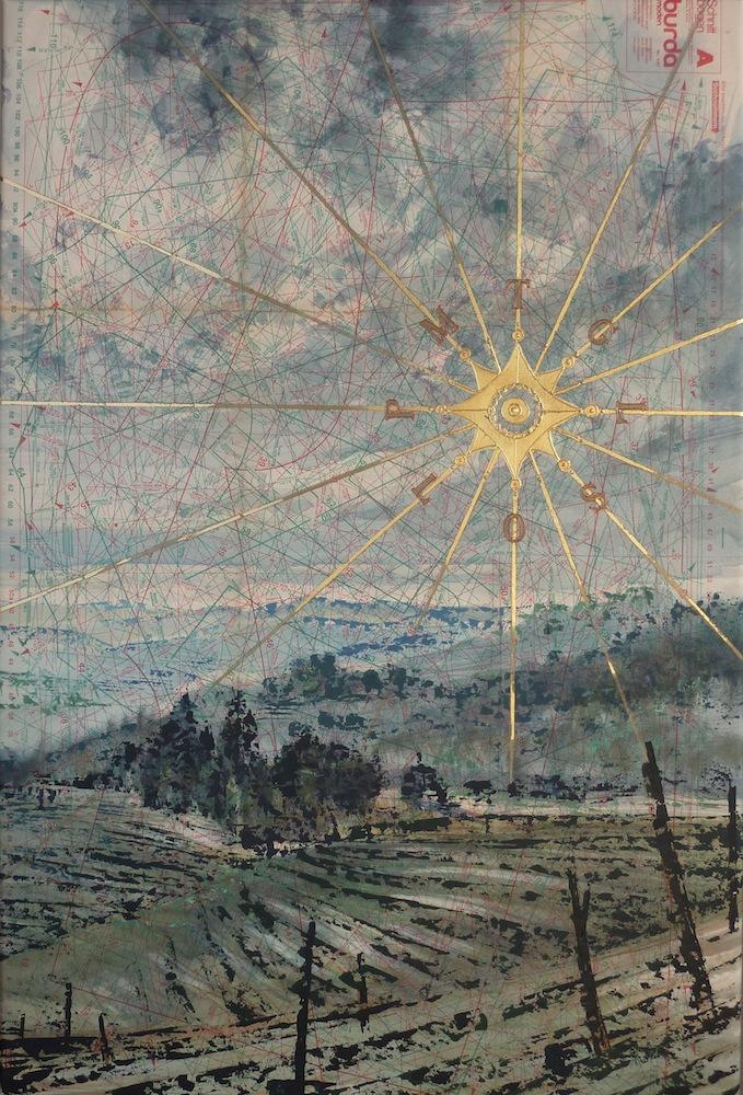SENSIARTE, Rosa dei venti, Passaggio a Sud Ovest, tempera acrilica, foglia oro su cartamodello intelato, cm 83 x 56