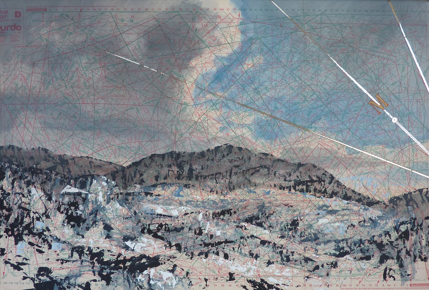 SENSI ARTE, Maestrale, tempera acrilica, foglia argento su cartamodello intelato, cm 56 x 83