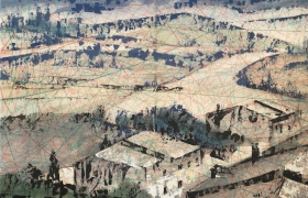 SENSI ARTE_Paper view, Tuscany 1 mista su cartamodello, cm 41 x 53