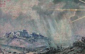 SENSI ARTE_Ponente, tempera acrilica, foglia oro su cartamodello intelato, cm. 56 x 83