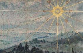 SENSIARTE_Rosa dei venti-Passaggio a Sud Ovest, tempera acrilica, foglia oro su cartamodello intelato cm. 83 x 56