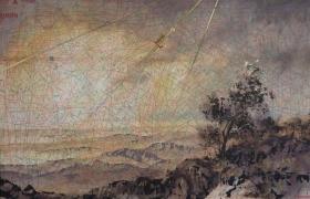 SENSIARTE, Libeccio, tempera acrilica, foglia oro su cartamodello intelaiato, cm. 56 x 83