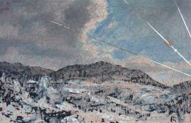 SENSIARTE_Maestrale, tempera acrilica, foglia argento su cartamodello intelato, cm. 56 x 83
