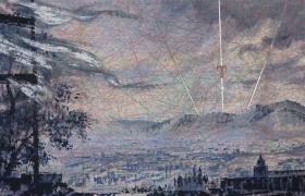 SENSIARTE_Tramontana, tempera acrilica, foglia argento su cartamodello intelato cm. 56 x 83 copia