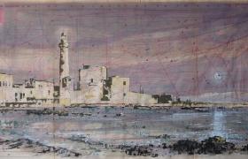 SENSIARTE_Montalbano's moonlight, mista su cartamodello, cm 100 x 58