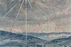 SENSIARTE, Rosa dei dei venti, Passaggio a Nord Ovest, tempera acrilica, foglia argento su cartamodello intelato cm. 83 x 56