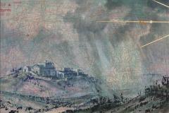 SENSI ARTE, Ponente, tempera acrilica, foglia oro su cartamodello intelato, cm 56 x 83