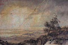 SENSI ARTE, Libeccio, tempera acrilica, foglia oro su cartamodello intelaiato, cm 56 x 83