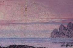 SENSI ARTE, Ostro, tempera acrilica, foglia oro su cartamodello intelaiato, cm 56 x 83