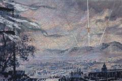 SENSI ARTE, Tramontana, tempera acrilica, foglia argento su cartamodello intelato, cm 56 x 83