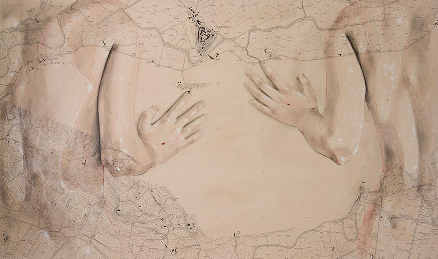 SENSI ARTE, Arbitrio,  mista su antica mappa su tavola, cm 100 cx 60_SRFL_07