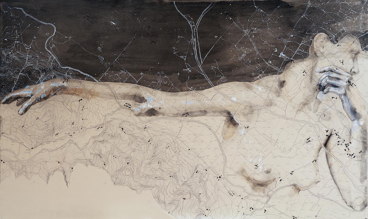 SENSI ARTE, Spazio Tempo 05, china, carboncino, olio , pastello su antica mappa su tavola, cm 60 x 100,_SRFL_02