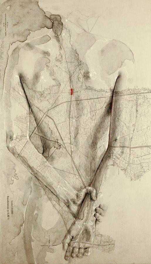 SENSI ARTE, Fulcro , china, carboncino, olio , pastello e corallo su antica mappa su tavola, cm 41 x 70,_SRFL_03