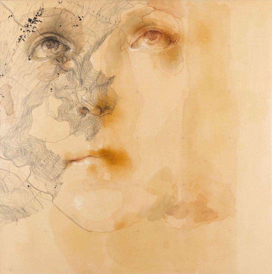 SENSI ARTE, Rilievo, acquerello sanguigna su antica mappa su tavola, cm 60 x 60, SRFL_08