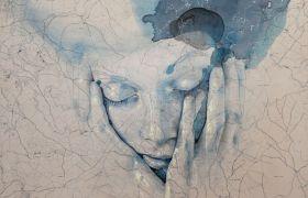 SENSI ARTE, My space, abbi cura di me, china, carboncino, olio , pastello su antica mappa su tavola, cm 55x67_SRFL_05