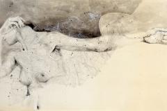 SENSI ARTE, Spazio Tempo 04, china, carboncino, olio , pastello su antica mappa su tavola, cm 60 x 100,_SRFL_01