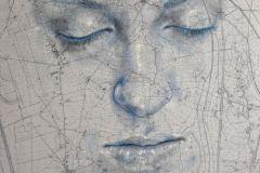 SENSI ARTE, Stand by me, china, carboncino, olio , pastello su antica mappa su tavola, cm 55x67_SRFL_04