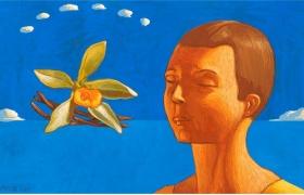 SENSI ARTE, Memoria di un aroma vaniglia, tempera su tavola, cm 35 x 19,5
