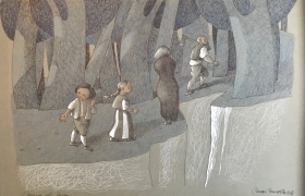 SENSI ARTE, L'ingresso nel bosco da Hansel e Gretel, mista su carta, cm 50 x 35