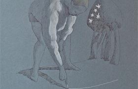 Agrimensore, disegno su carta, cm 23 x 32
