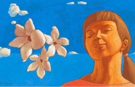 SENSI ARTE Memoria di un aroma: gelsomino, tempera su tavola, cm 25 x 19,5, 2018