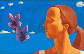 SENSI ARTE Memoria di un aroma viola, tempera su tavola, cm 35 x 19,5, 2018