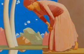 SENSI ARTE Una donna osservando il riflesso dell'acqua scopre l'esistenza di altri cieli 2015, tempera su tavola, cm. 120 x 100 MNZM_106