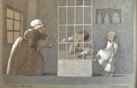 SENSI ARTE_La cucina della strega da Hansel e Gretel, mista su carta, cm 50 x 35