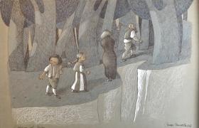 SENSI ARTE_L'ingresso nel bosco da Hansel e Gretel, mista su carta, cm 50 x 35