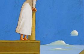 Pontile IX, tempera su tavola 2015 cm 30 x 25